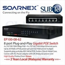 SOARNEX EP100-08-62 Gigabit POE+ 8 port Switch 802.3af 802.3at