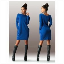 ELEGANT CASUAL ROUND COLLAR LONG SLEEVE SOLID PLUS SIZE WOMEN DRESS (B