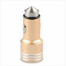 METAL MATERIAL 5V/2.1A DUAL USB CAR CHARGER WITH SAFETY HAMMER (GOLDEN