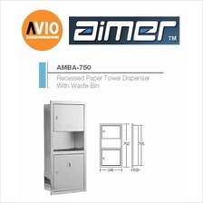 AIMER MALAYSIA AMBA-750 RECESSED PAPER DISPENSER With WASTE BIN