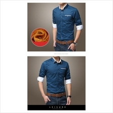 MS0005 New Korean Fashion Men's Slim Long-Sleeved Shirt