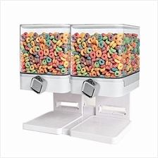 Double Cereal Dispenser Corn Flakes Dry Food Kitchen Storage Square
