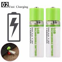 2Pack USB Rechargeable AA Battery with NI-MH 1.2V 1450mAh Battery