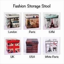 Multifunctional Foldable Stool Storage Box Container (30 x 30 x 30cm)