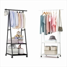 Metal Cloth Hanging Organizer Cloth Hanger with 2 Layer Rack and Wheel