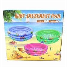 Kids Inflatable 3 Rings Round Swimming Pool (130 x 130 x 30cm)