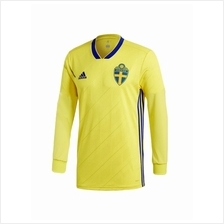 Sweden Men Home Long Sleeve World Cup 2018 CLIMALITE Fans Jersey