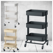 Stainless Steel 3 Tier Trolley Storage Rolling Cart With Wheel