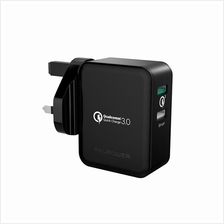 RAVPower 30W Turbo Wall Charger + Fast Charger with Quick Charge 3.0)