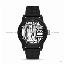 A|X ARMANI EXCHANGE AX1443 Men's 3-hand Silicone Strap Black