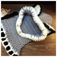 Girls Boys Baby Winter Hat Hooded Scarf Earflap Knitted Cap Fox Cap )
