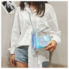 MEINISHI &TY Chain Strap Transparent Laser Style Crossbody Sling Bag
