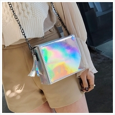 Chic Square Size Laser Style Chain Strap Crossbody Sling Bag (3 Colour