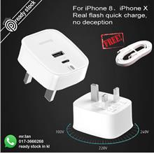 Baseus PD 3.0 Quick Charge 30W charger travel adapter For iPhone X i8