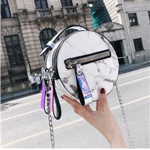 Marble Design Chain Strap Round Crossbody Sling Bag (2 Colours)