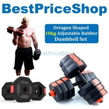 10kg Adjustable Octagon Hexagon Dumbbell Set Rubber Weight Plate