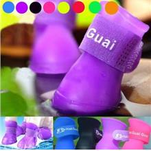 Multicolor Waterproof Shoes Rubber Rain Boots For Pets 2 Pairs