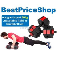 20kg Adjustable Octagon Dumbbell Set Rubber Hexagon Weight Plate 1pair
