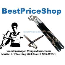 Bruce Lee Wooden Dragon Nunchaku Martial Art Fighting Baton NCK-W05D