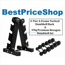 45KG Premium Hexagon Dumbbell Set with 3-Tier A Frame Dumbbells Rack