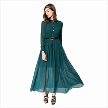 VINTAGE STAND COLLAR LONG SLEEVE PURE COLOR CHIFFON ANKLEL-LENGTH DRES