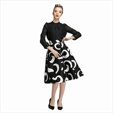 ELEGANT HIGH WAIST MOON PATTERN PRINT COLOR BLOCK SKIRT FOR LADIES (WH