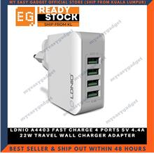 LDNIO A4403 FAST CHARGE 4 PORTS 5V 4.4A 22W TRAVEL WALL CHARGER ADAPTE
