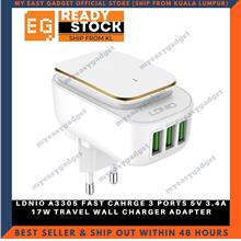 LDNIO A3305 FAST CAHRGE 3 PORTS 5V 3.4A 17W TRAVEL WALL CHARGER ADAPTE
