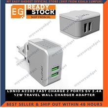 LDNIO A2203 FAST CHARGE 2 PORTS 5V 2.4A 12W TRAVEL WALL CHARGER ADAPTE