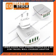 LDNIO A4404 FAST CHARGE 4 PORTS 5V 4.4A 22W TRAVEL WALL CHARGER ADAPTE