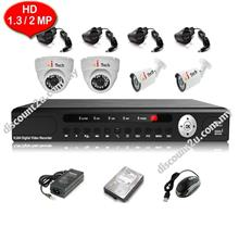 CCTV 4-CH HD DVR with IR DOME + BULLET Camera Package (W1-2D2L)