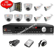 CCTV 8-CH HD DVR with IR DOME + BULLET Camera Package (W1-4D4L)