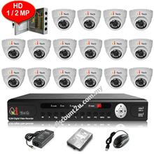 CCTV 16-CH HD DVR with IR Dome Camera Package (W1-16D0L)