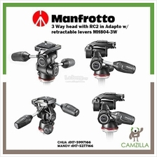 Manfrotto 3 Way head with RC2 in Adapto w/ retractable levers MH804-3W