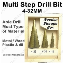 Pcs Hss Steel Titanium Step Drill Bits Cone Cutting Set Wood Iron Meta