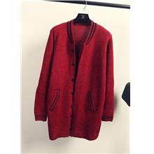 New Softball Style Long-sleeve Jacket (Wine Red)