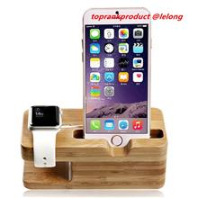 Apple Watch 1 2 iPhone 7 Plus Bamboo Wood Charger Station Stand Holder