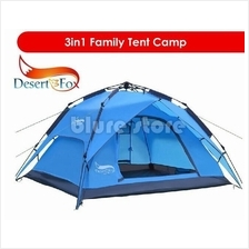 Desert Fox Camping Tent Automatic Outdoor Waterproof 4 Person 3in1
