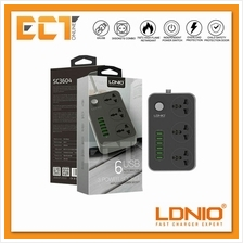 LDNIO SC3604 3.4A Power Strip 3 Universal AC Socket with 6 USB Charger
