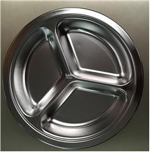 26cm Stainless Steel 3 Section Divided Dish Tableware Dinner Plate