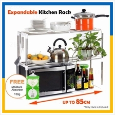 2 Layer Expandable 85cm Stainless Steel Rack Microwave Storage