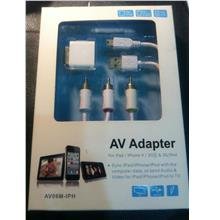 AV Adapter For Ipad / iphone 3G, 3Gs / IPod / Iphone 4 for OS 5 only.