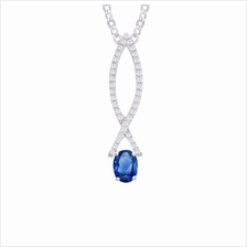Lazo Diamond 18K White Gold Diamond Blue Sapphire Pendant - PP4652BS)