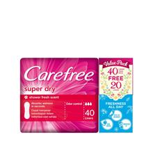 CAREFREE Super Dry Shower Fresh Scent Liners 2x40s)