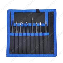 Tweezers 9PCS Set Anti-static ESD Stainless Steel Precision Electronic