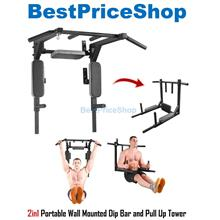 2in1 Portable Wall Mounted Chin Pull Up Bar Dip Gym Station WCUD-370