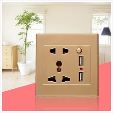Dual USB Electric Wall Charger Dock Station Socket Power Outlet Panel ..