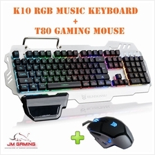 SUNSONNY COMBO [K10 RGB MEMBRANE MUSIC GAMING KEYBOARD + T80 GAMING MOUSE]
