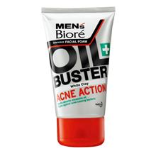 MEN'S BIORE Oil Buster Acne Action White Clay Facial Foam 100g)