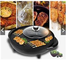Electric BBQ Grill Pan With Shabu Shabu BBQ Steamboat Hot Pot